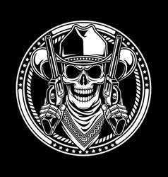 Cowboy Skull Hold Guns vector