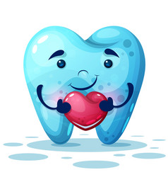 Cute cartoon tooth with pink heart vector
