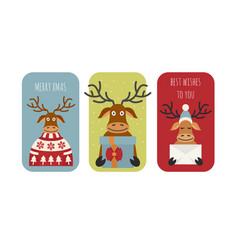 cute reindeer sticker icon set elements for vector image