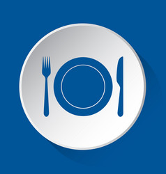 Cutlery plate - simple blue icon on white button vector