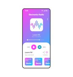 electronic music radio smartphone interface vector image