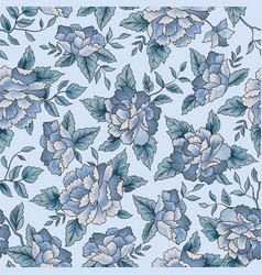 Floral seamless pattern blue flower background vector