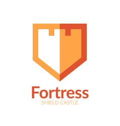 fortress shield logo vector image