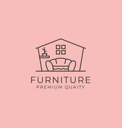Furniture interior line art logo symbol design vector