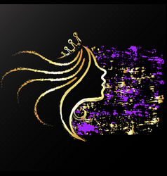 golden profile of a girl with a crown vector image