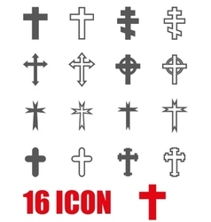 Grey crosses icon set vector