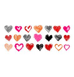 grunge hand drawn valentine hearts vector image