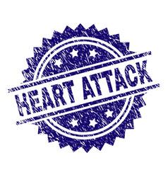 Grunge textured heart attack stamp seal vector