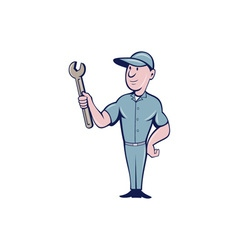 Handyman Holding Spanner Cartoon vector image