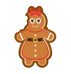 Happy bitten woman gingerbread vector