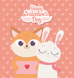 happy valentines day cute fox with envelope vector image