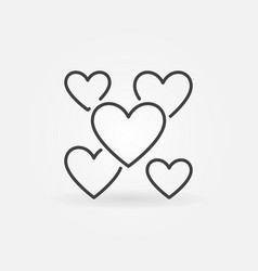hearts outline icon valentines day and vector image