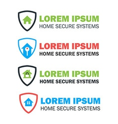 House with Shield Logo Concepts Set vector image