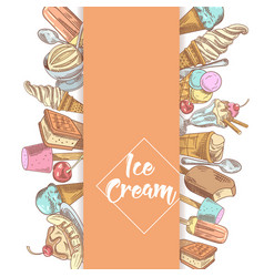 ice cream and desserts hand drawn menu vector image