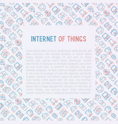 internet of things concept with thin line icons vector image