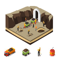 isometric coal extraction concept vector image