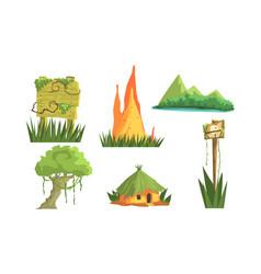 jungle landscape elements set user interface vector image