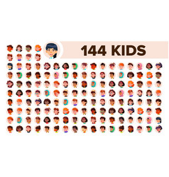Kids avatar set girl guy multi racial vector