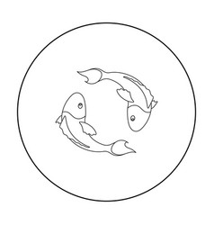 koi fishes icon in outline style isolated on white vector image