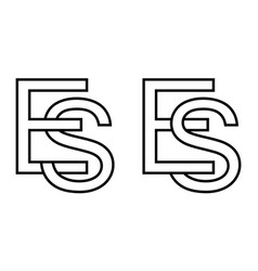 logo sign es se icon sign interlaced letters s e vector image