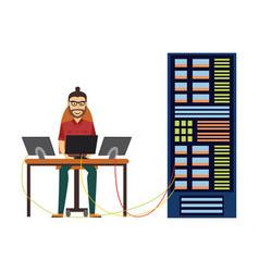 Man at server rack at data center vector