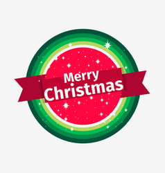 merry christmas banner round sticker and ribbon vector image