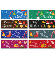 Merry christmas set of banners template with vector