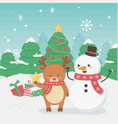 merry merry christmas card with snowman and vector image