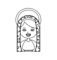 Monochrome contour of half body virgin of vector
