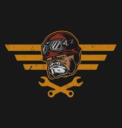 Motorcycle garage repair service badge vector