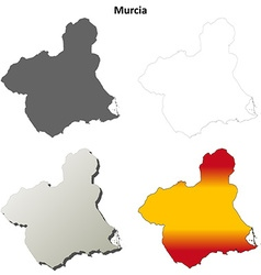 Murcia blank detailed outline map set vector