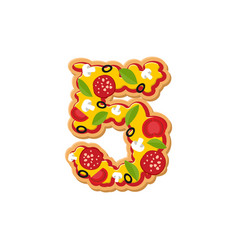 Number 5 pizza font italian meal alphabet numeral vector