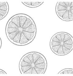 orange slice hand drawn sketch as seamless vector image