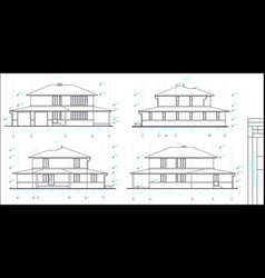 Project is a two-storey individual house vector
