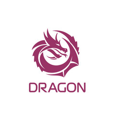 Purple chinese dragon in a circle shape vector