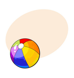 Rainbow colored inflated beach ball sketch style vector