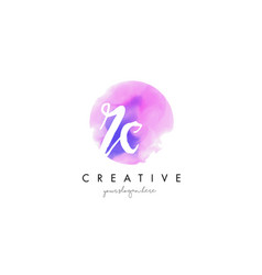 rc watercolor letter logo design with purple vector image