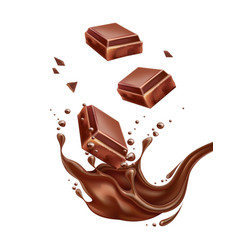 realistic chocolate splash with bar pieces vector image