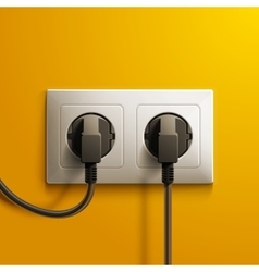 Realistic electric white double socket and two vector