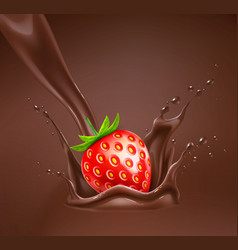 Realistic strawberry in chocolate splash vector