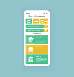reservation service smartphone interface template vector image