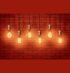 Retro edison light bulb text vector