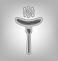 sausage on fork sign pencil sketch vector image
