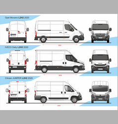 Set cargo delivery vans l2h2 2020 vector
