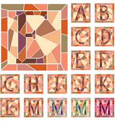 Set mosaic capital letters alphabet vector