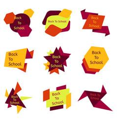 Set of nine colorful back to school badges vector