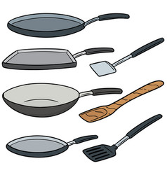 Set of pan and flipper vector