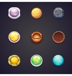Set of round buttons different materials for the vector image