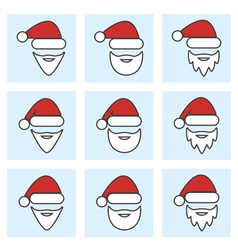set of santa claus face vector image