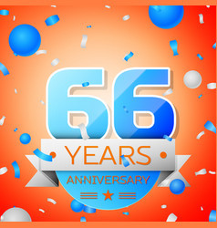 sixty six years anniversary celebration vector image